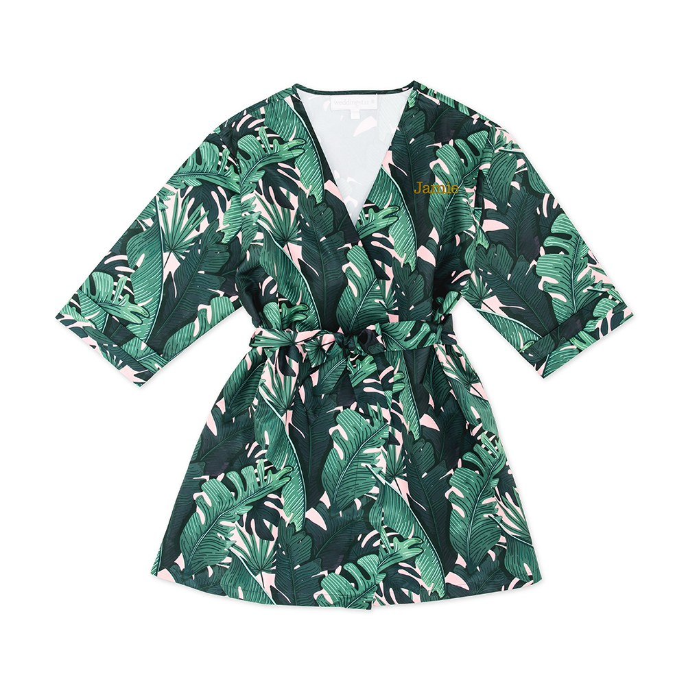 Personalized Embroidered Junior Bridesmaid Tropical Satin Robe with Pockets - Banana Leaf