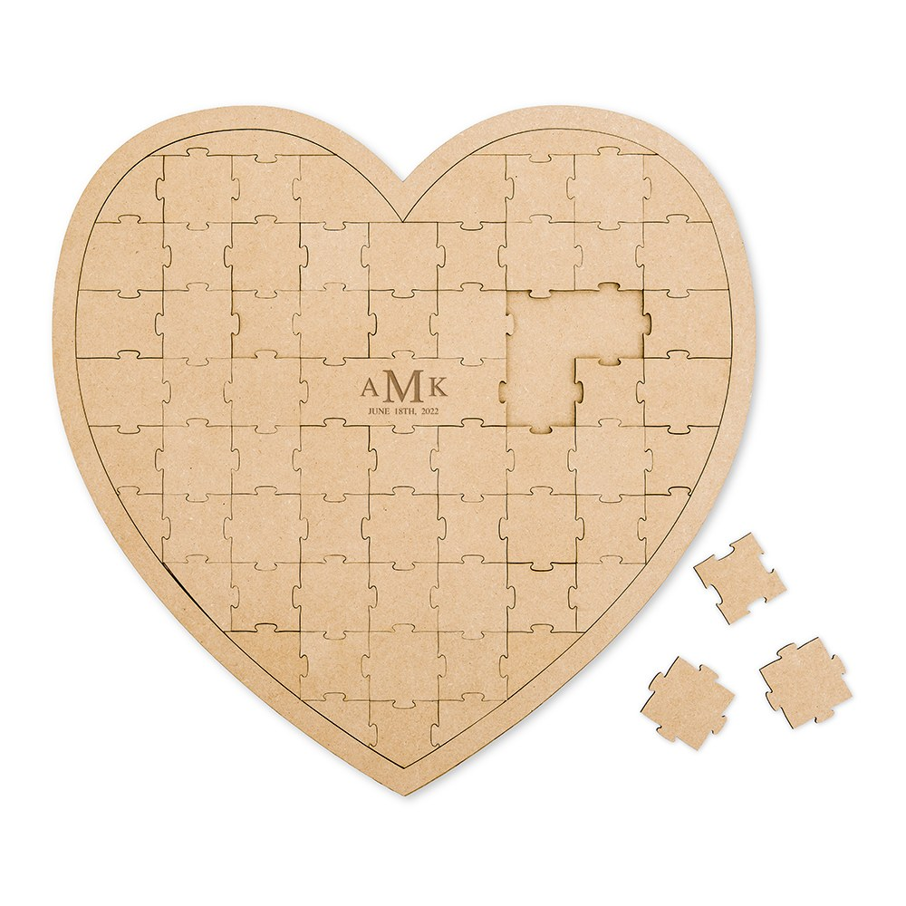 Personalized Wooden Heart Puzzle Wedding Guest Book - Traditional Monogram