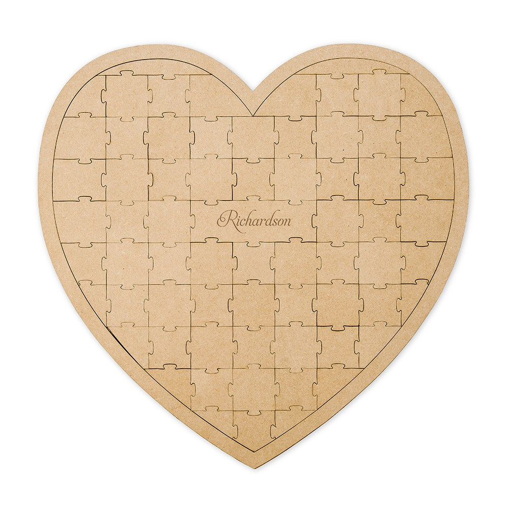 Personalized Wooden Heart Puzzle Wedding Guest Book - Simple Script