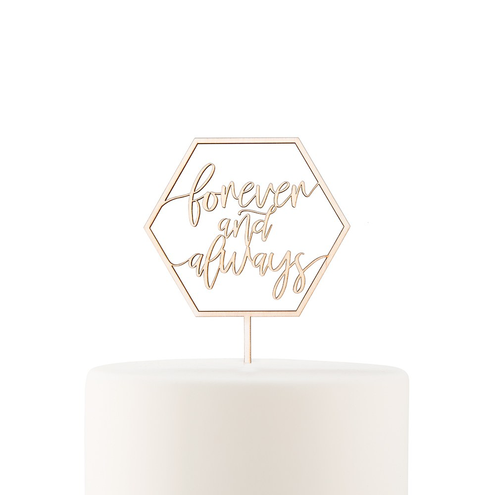 Natural Wood Cake Topper Decoration - Forever and Always