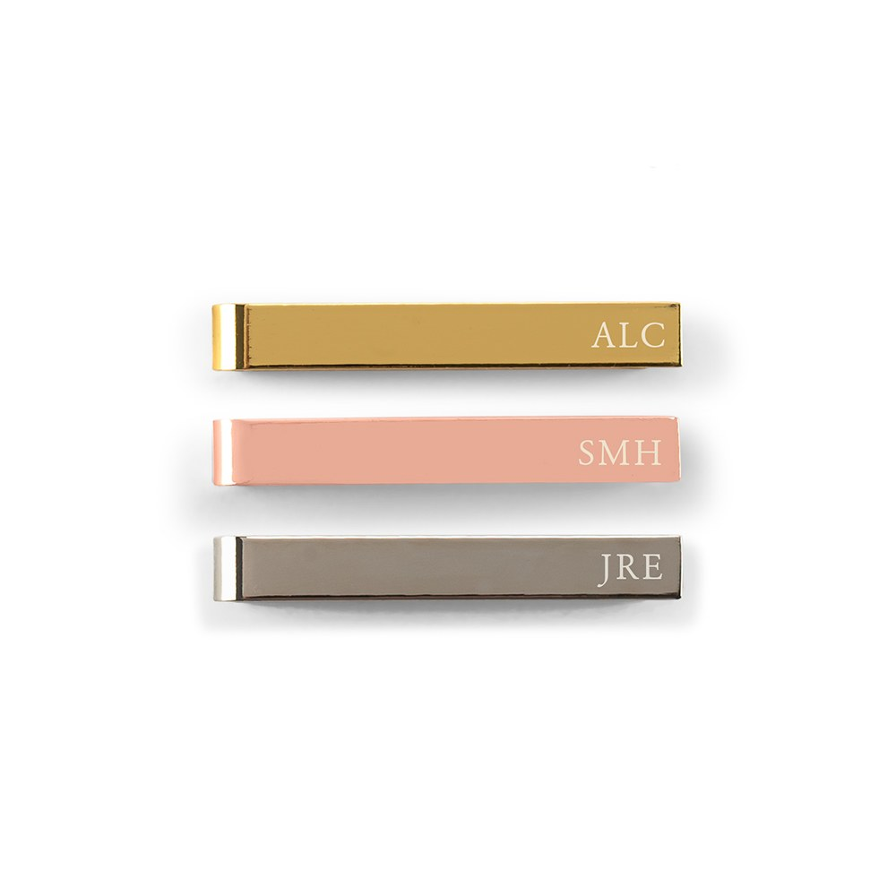 Men's Custom Engraved Stainless Steel Tie Bar - Serif Monogram