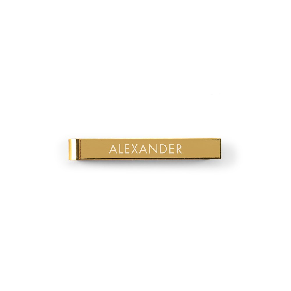 Men's Custom Engraved Stainless Steel Tie Bar - Sans Serif Font