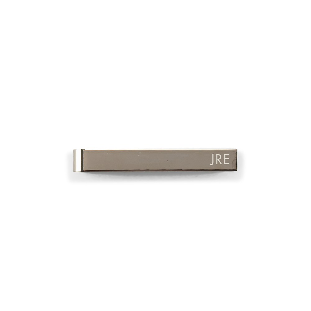 Men's Custom Engraved Stainless Steel Tie Bar - Sans Serif Monogram