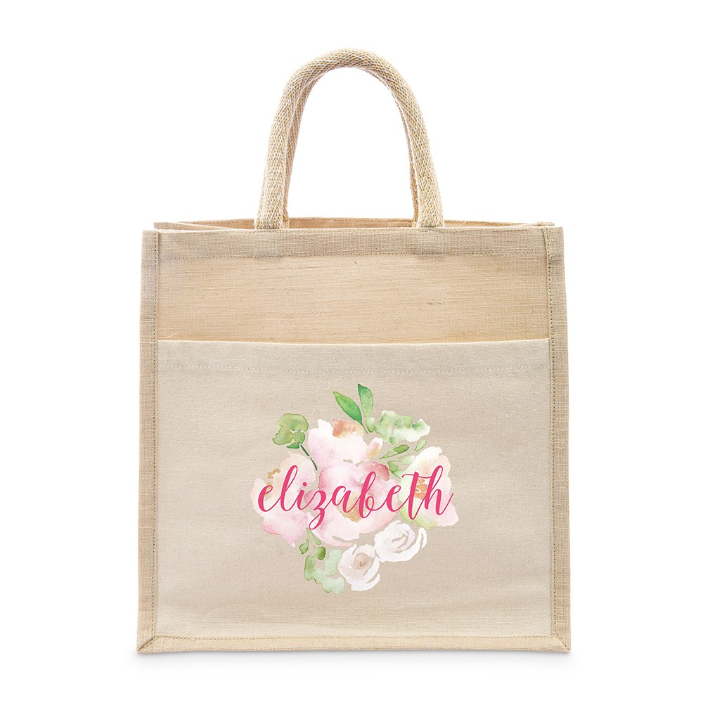 Personalized Medium Woven Jute Tote Bag with Pocket - Floral Garden Party