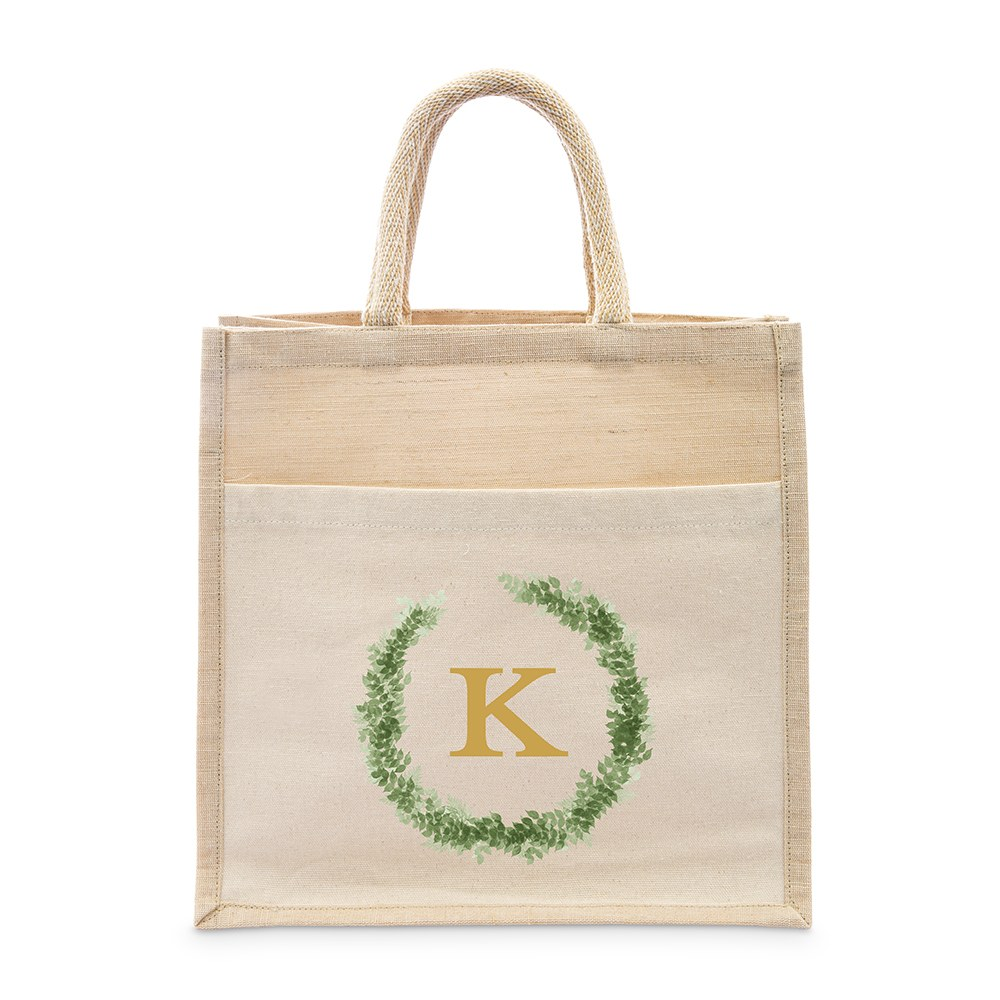 Personalized Medium Woven Jute Tote Bag with Pocket - Love Wreath Monogram