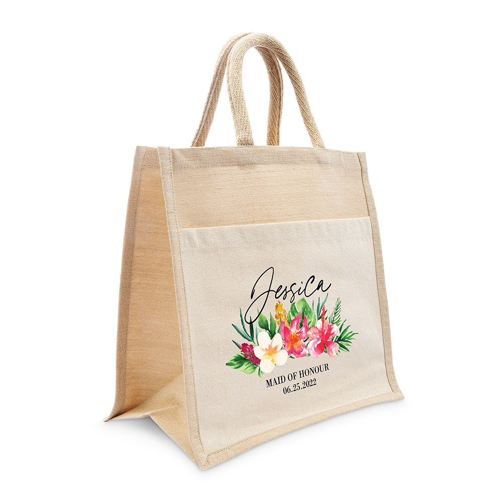 Personalized Medium Woven Jute Tote Bag with Pocket - Tropical Floral