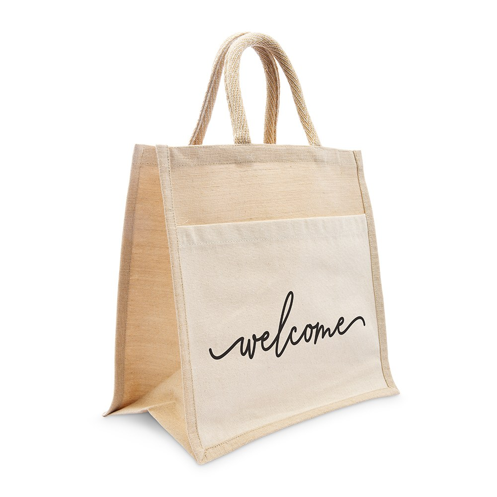 Medium Reusable Woven Jute Tote Bag with Pocket - Welcome