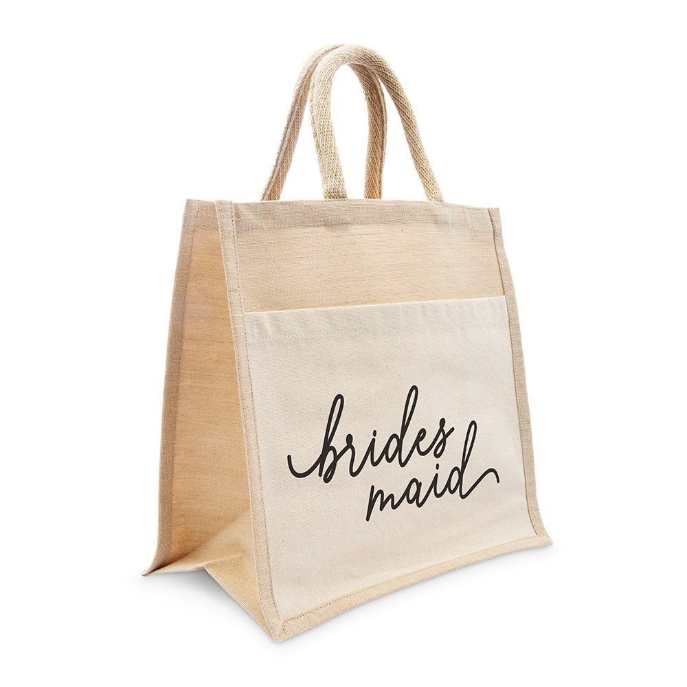 Medium Reusable Woven Jute Tote Bag with Pocket - Bridesmaid