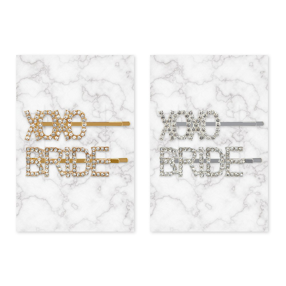 Rhinestone Bridal Party Word Hair Clips - XOXO Bride