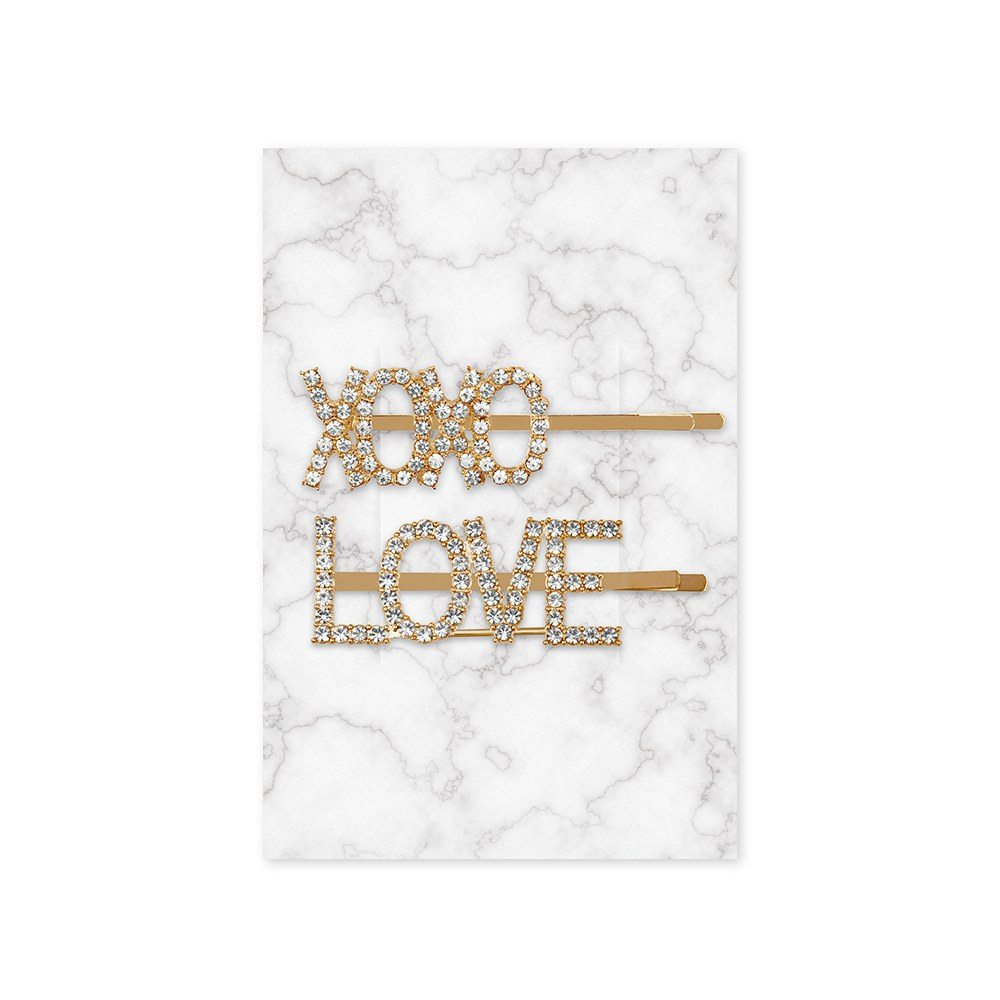 Rhinestone Bridal Party Word Hair Clips - XOXO Love