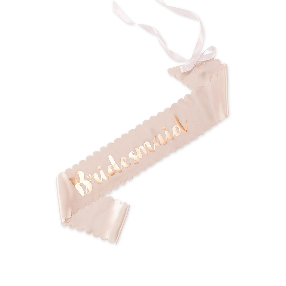 Blush Pink & Rose Gold Satin Bachelorette Party Sash - Bridesmaid