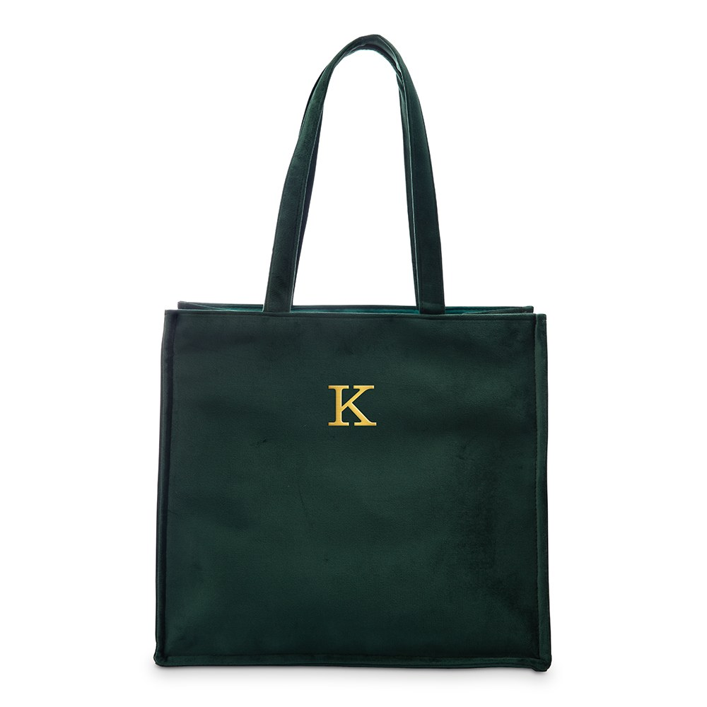 Large Personalized Velvet Tote Bag - Dark Green