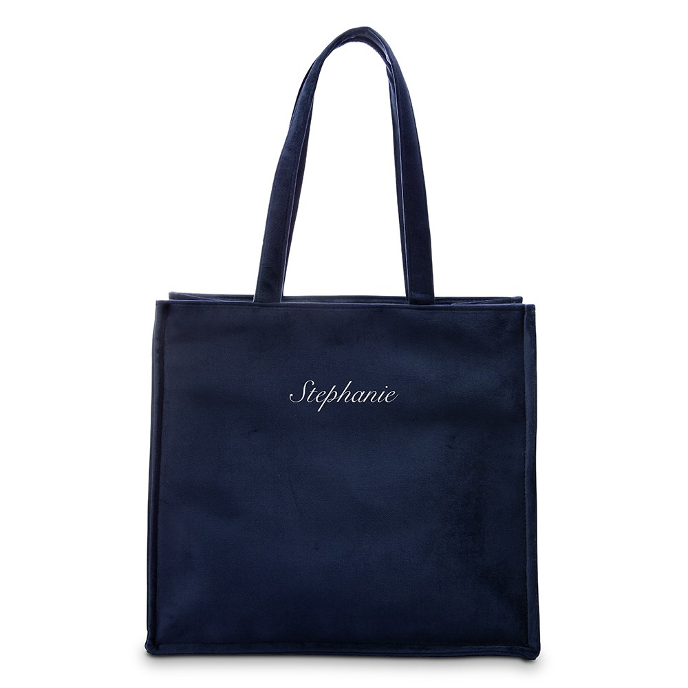 Large Personalized Velvet Tote Bag - Navy Blue