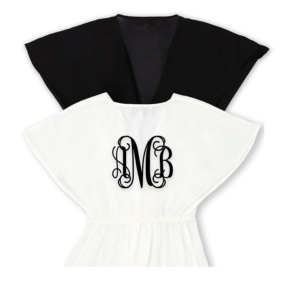 Personalized Sheer Swimsuit Cover-Up Beach Dress - Script Monogram