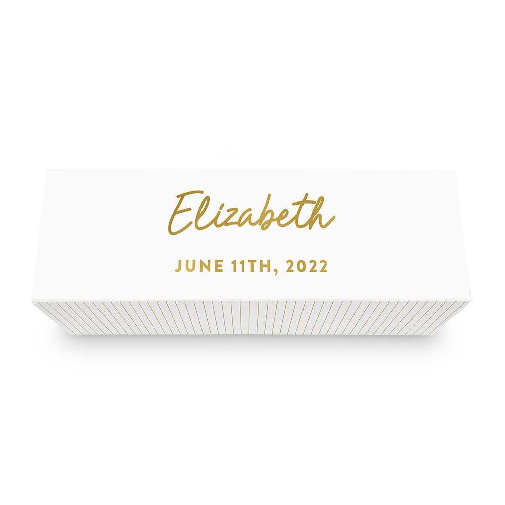 White Personalized Wine Gift Box with Magnetic Lid - Script Font