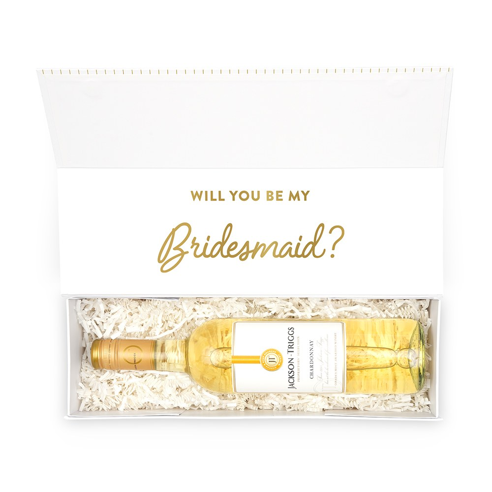 White Personalized Wine Gift Box with Magnetic Lid - Mrs. Script