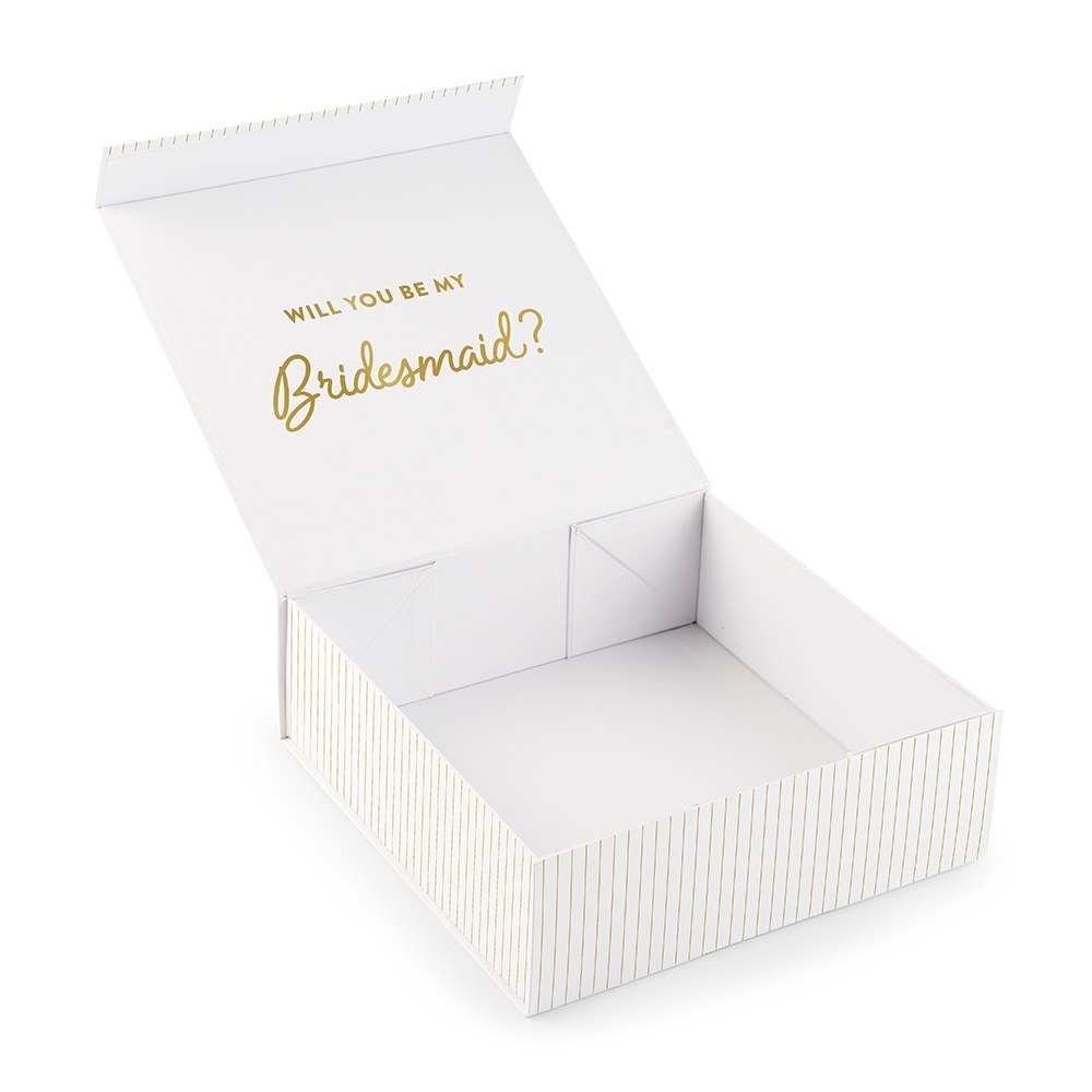 Large Personalized White Bridal Party Gift Box with Magnetic Lid - Custom Text