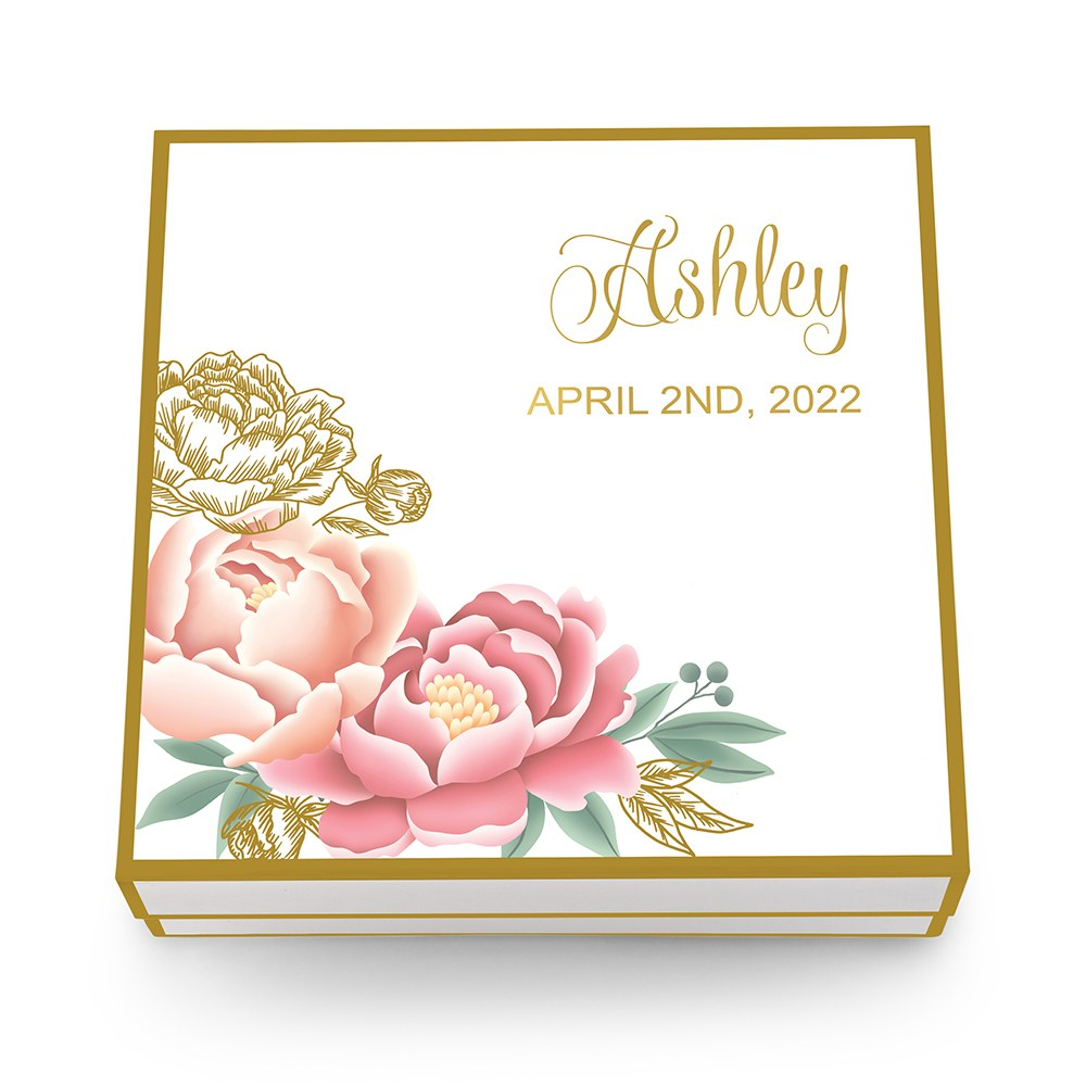 Large Personalized Modern Floral Bridal Party Gift Box with Magnetic Lid - Calligraphy
