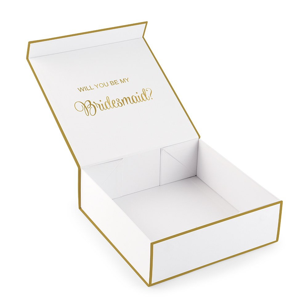 Large Personalized Modern Floral Bridal Party Gift Box with Magnetic Lid - Script Monogram
