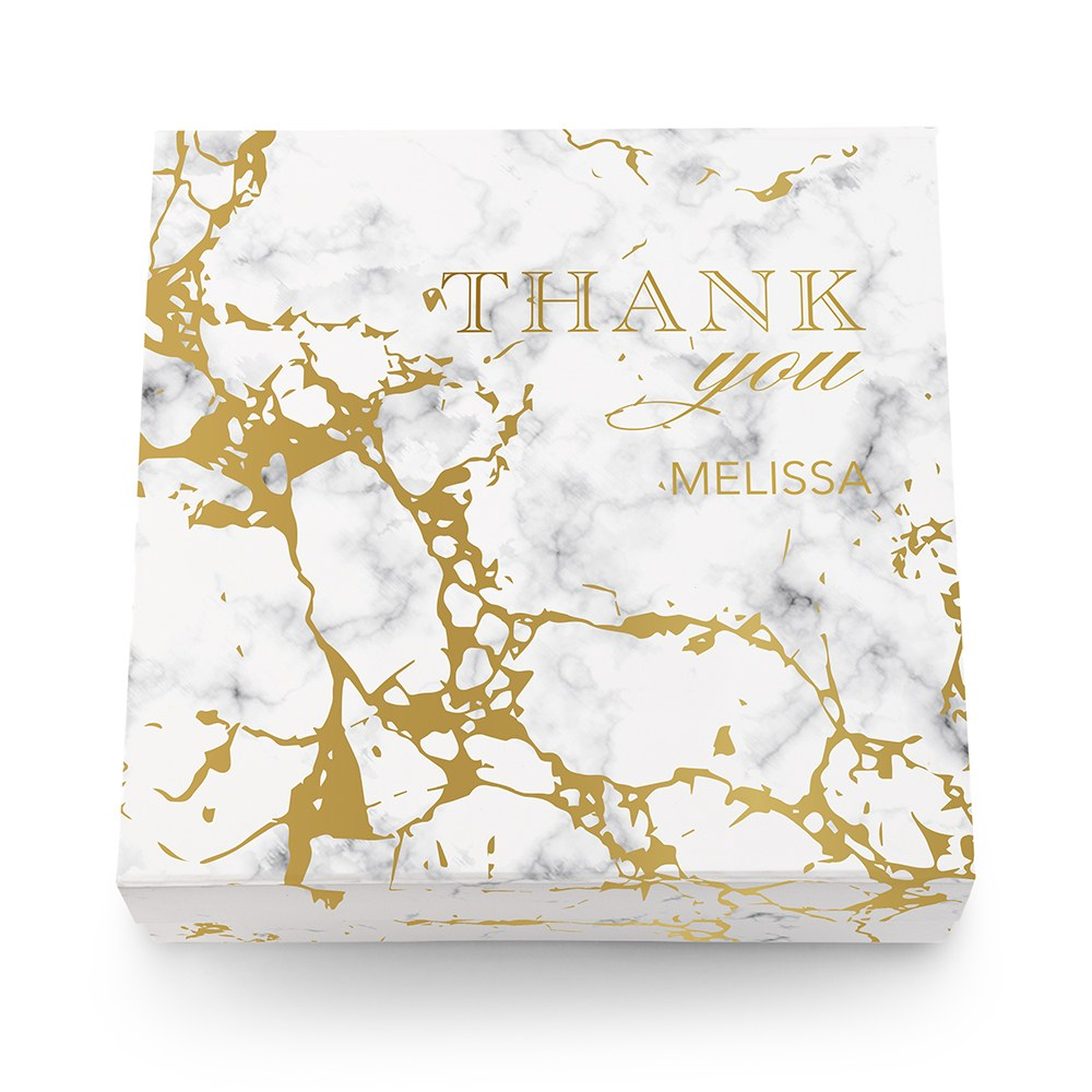 Large Personalized Marble Bridal Party Gift Box with Magnetic Lid - Thank You
