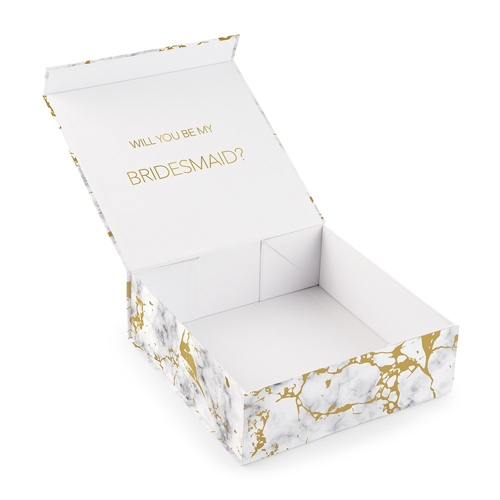 Large Personalized Marble Bridal Party Gift Box with Magnetic Lid - Traditional Monogram