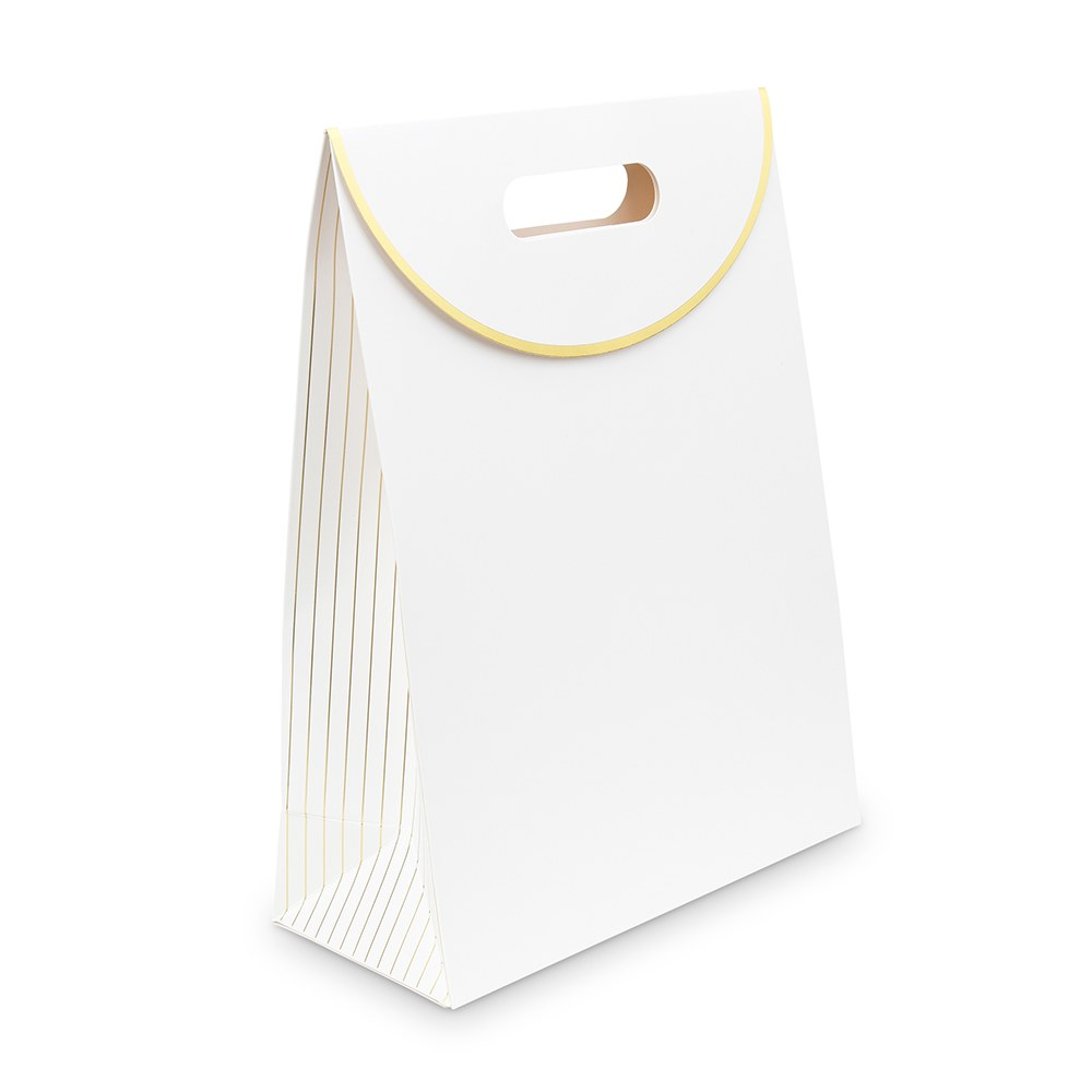 Paper Gift Bag with Handles - Gold Stripe