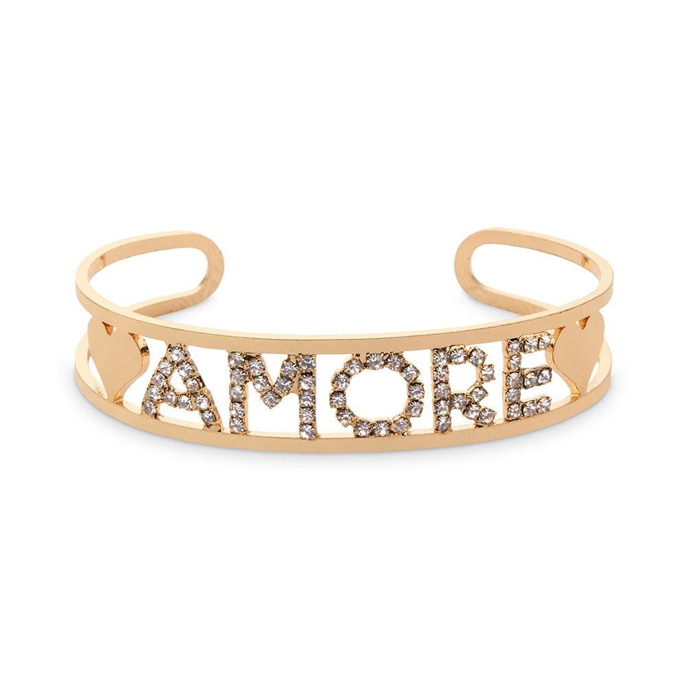 Clear Rhinestone & Gold Amore Bangle Bracelet
