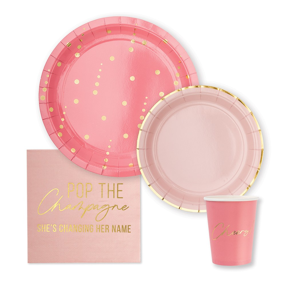 Disposable Paper Tableware Party Sets - Pop the Champagne - Serves 24