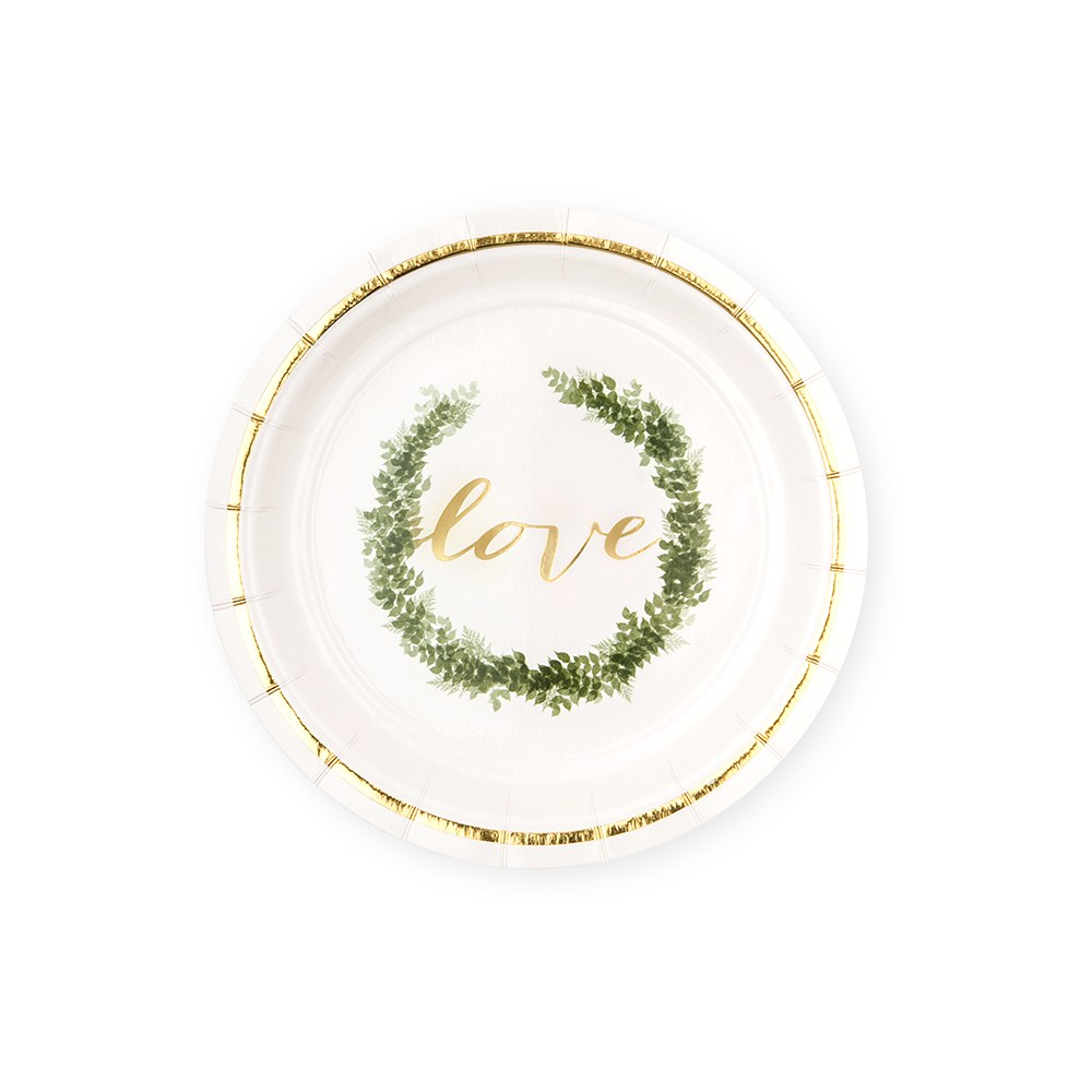 Disposable Paper Tableware Party Sets - Love Wreath - Serves 24
