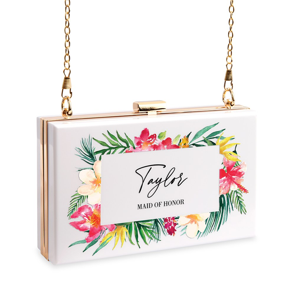 Personalized Acrylic Box Clutch - Tropical Floral