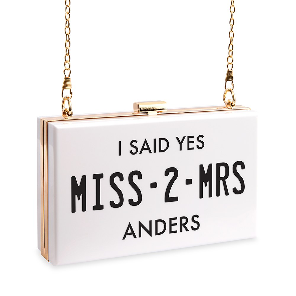 Personalized Acrylic Box Clutch - Miss 2 Mrs