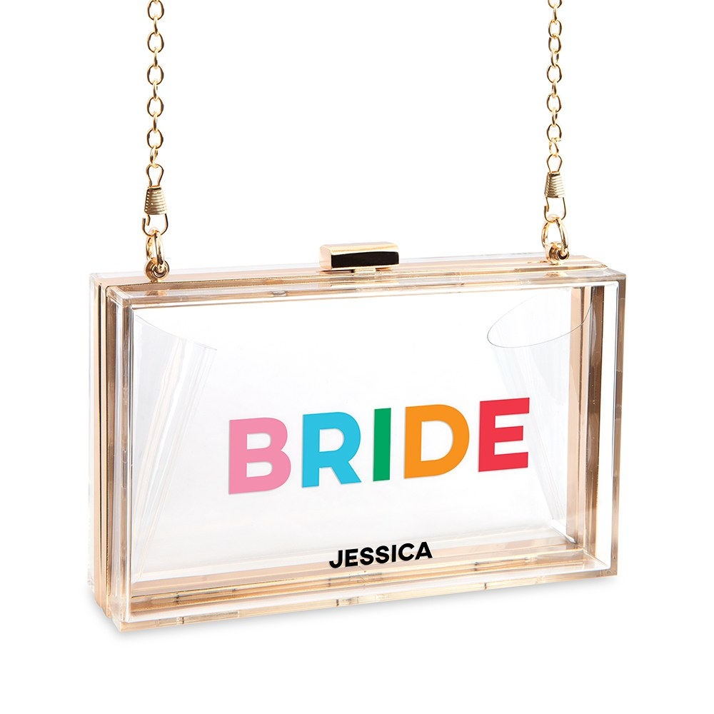 Personalized Acrylic Box Clutch - Color Block Bride