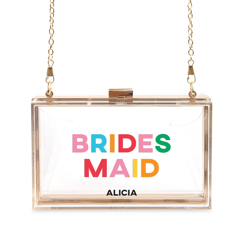 Personalized Acrylic Box Clutch - Color Block Bridesmaid