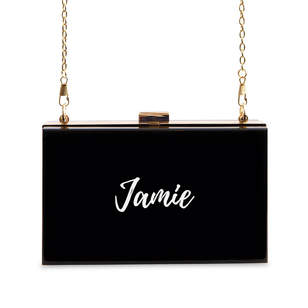 Personalized Acrylic Box Clutch - Calligraphy