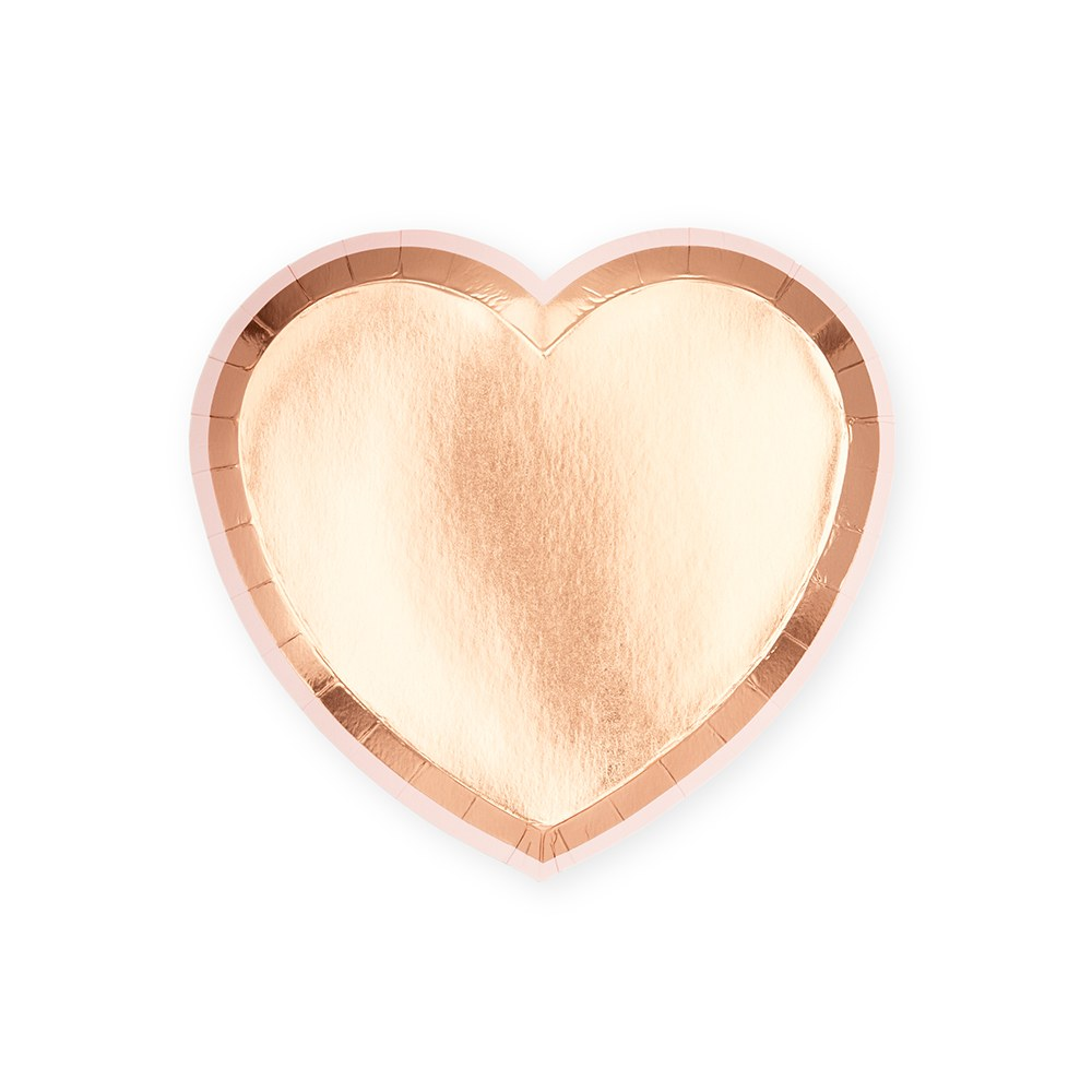 Small Heart Disposable Paper Party Plates - Rose Gold - Set of 8