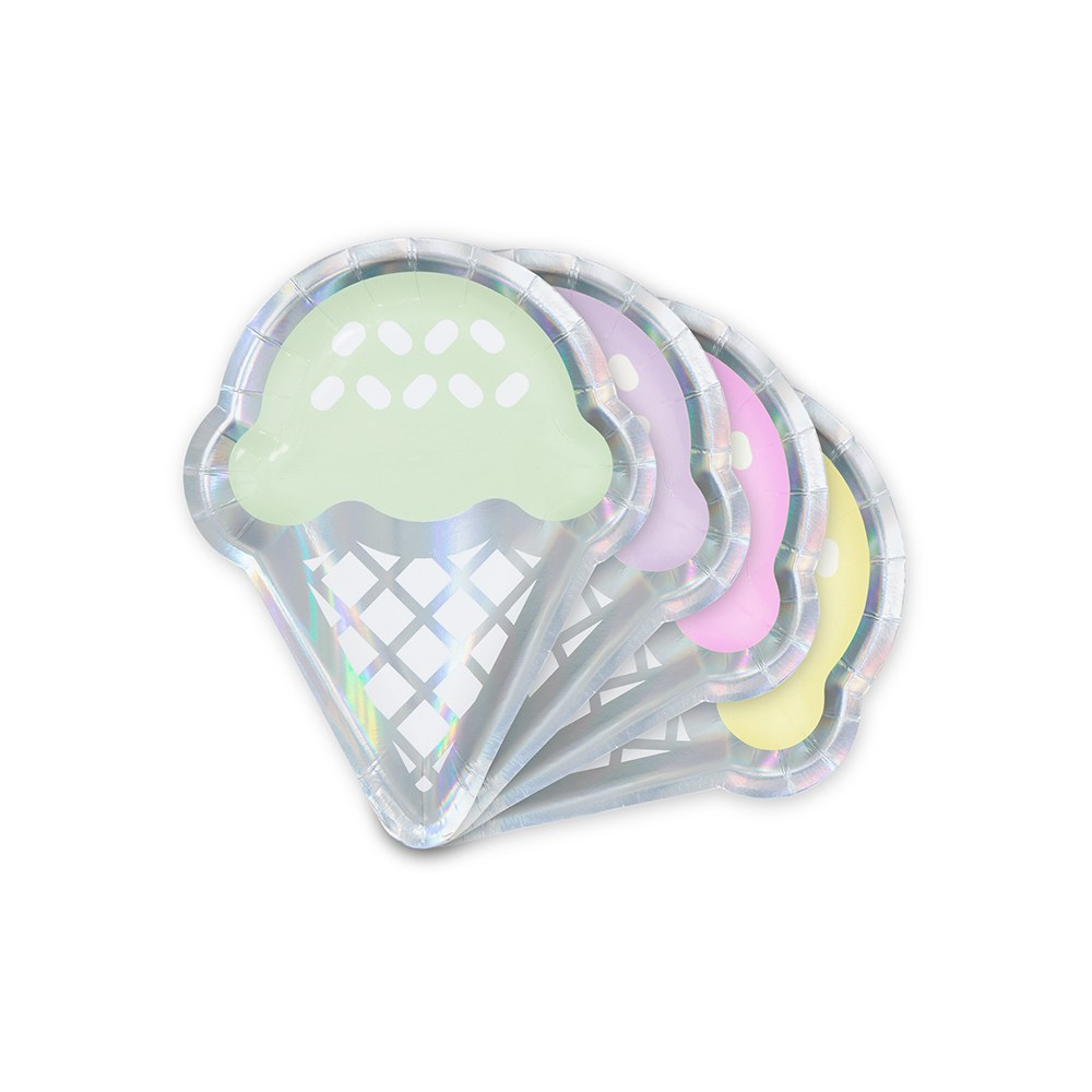 Small Ice Cream Cone Disposable Paper Party Plates - Iridescent - Set of 8