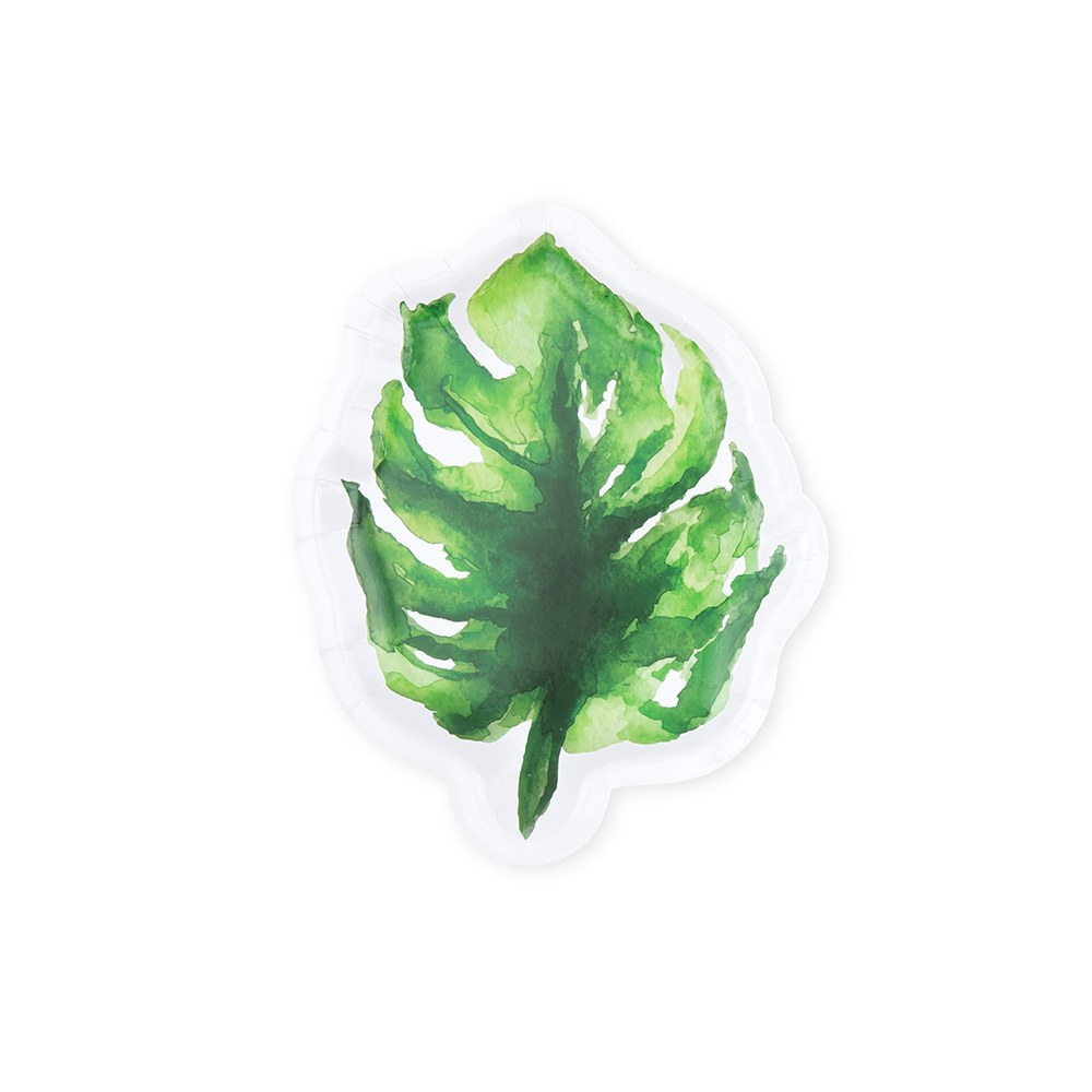 Small Tropical Leaf Disposable Paper Party Plates - Monstera - Set of 8