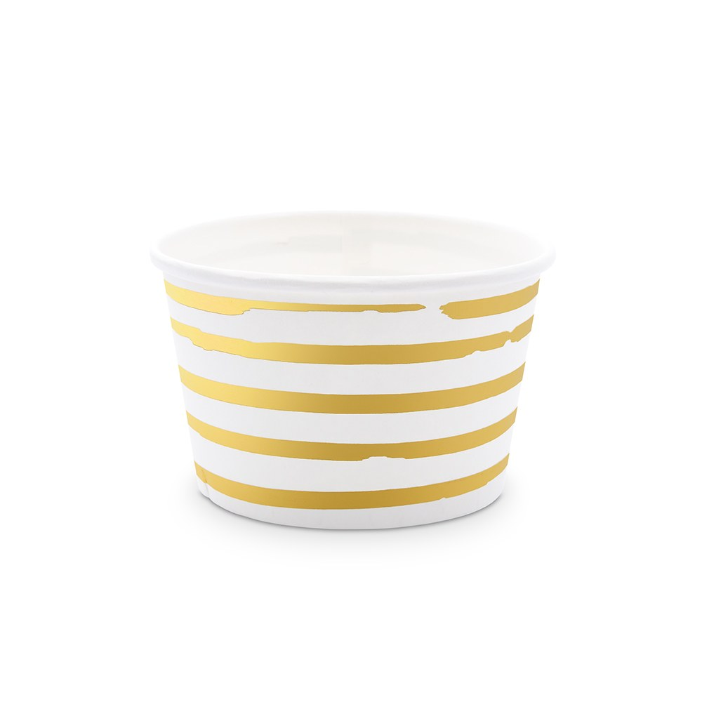 Disposable 8 oz. Paper Ice Cream Dessert Cups - Gold Stripe - Set of 8