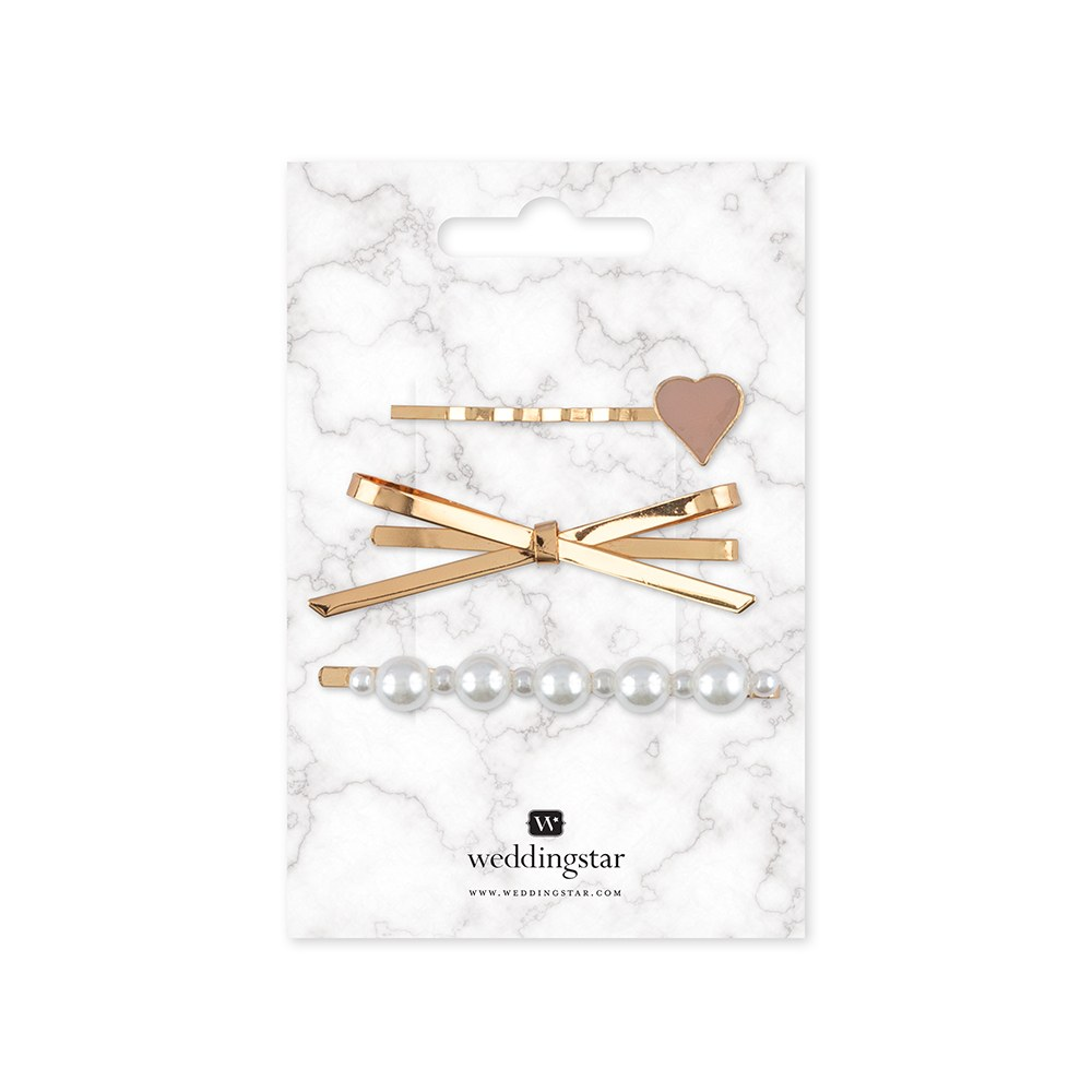 Bridal Party Hair Clips - Gold Bow