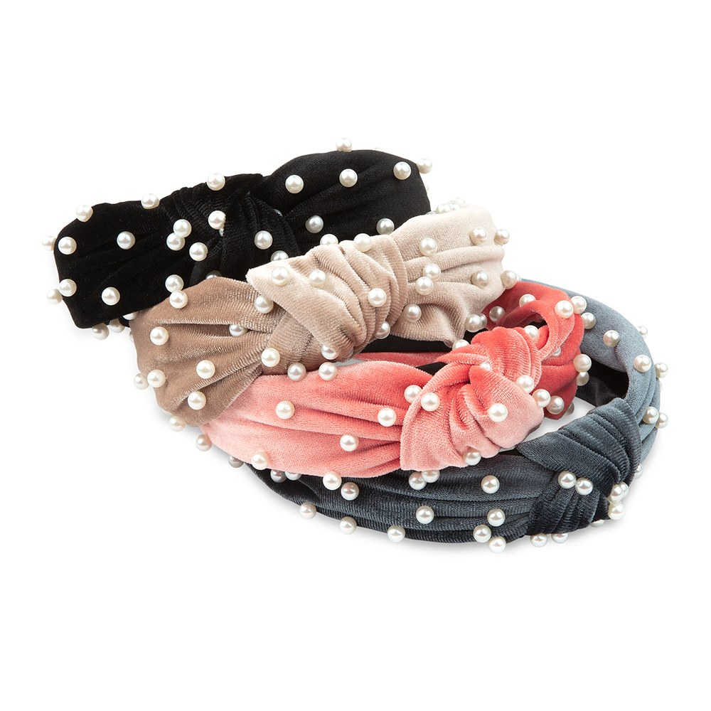 Wide Velvet & Pearl Knot Headband - Black