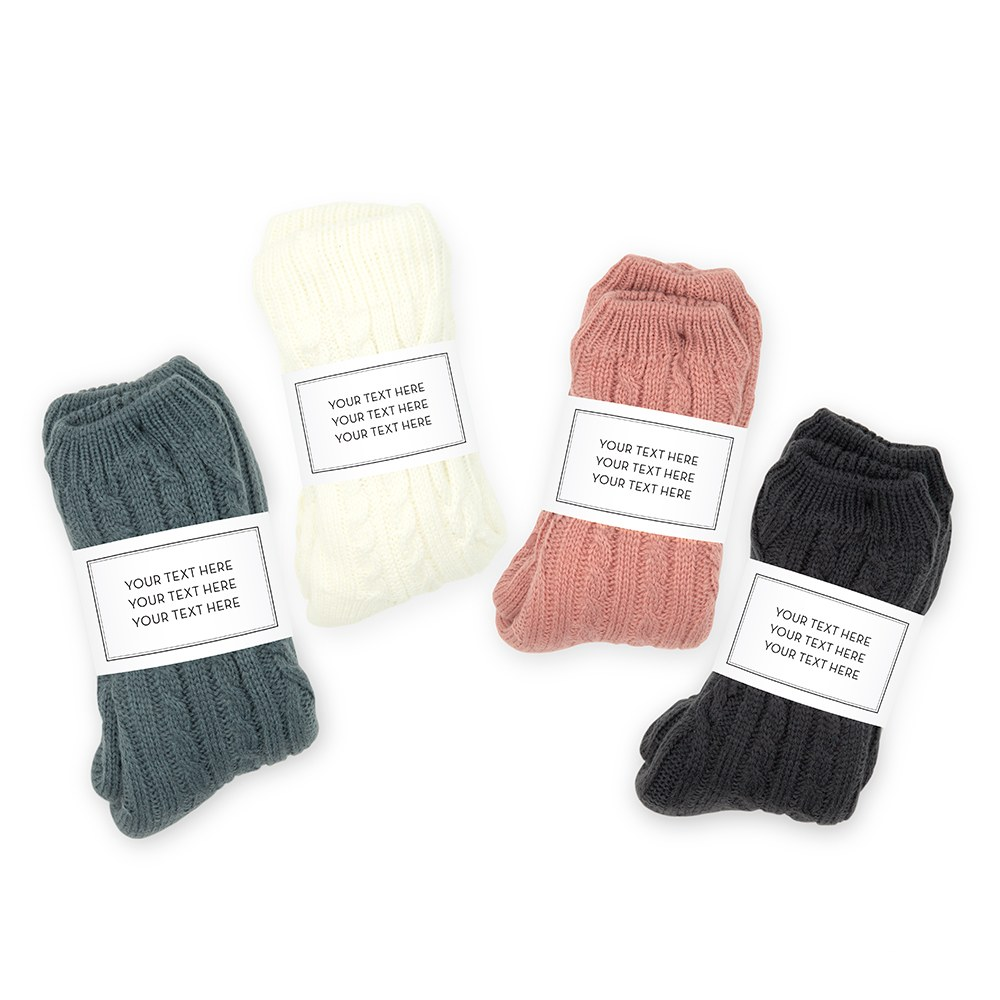 Personalized Cozy Sherpa Lined Cable Knit Slipper Socks - Custom Text