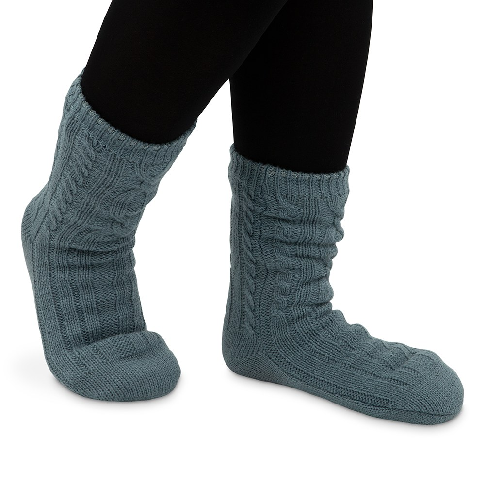 Personalized Cozy Sherpa Lined Cable Knit Slipper Socks - Thank You