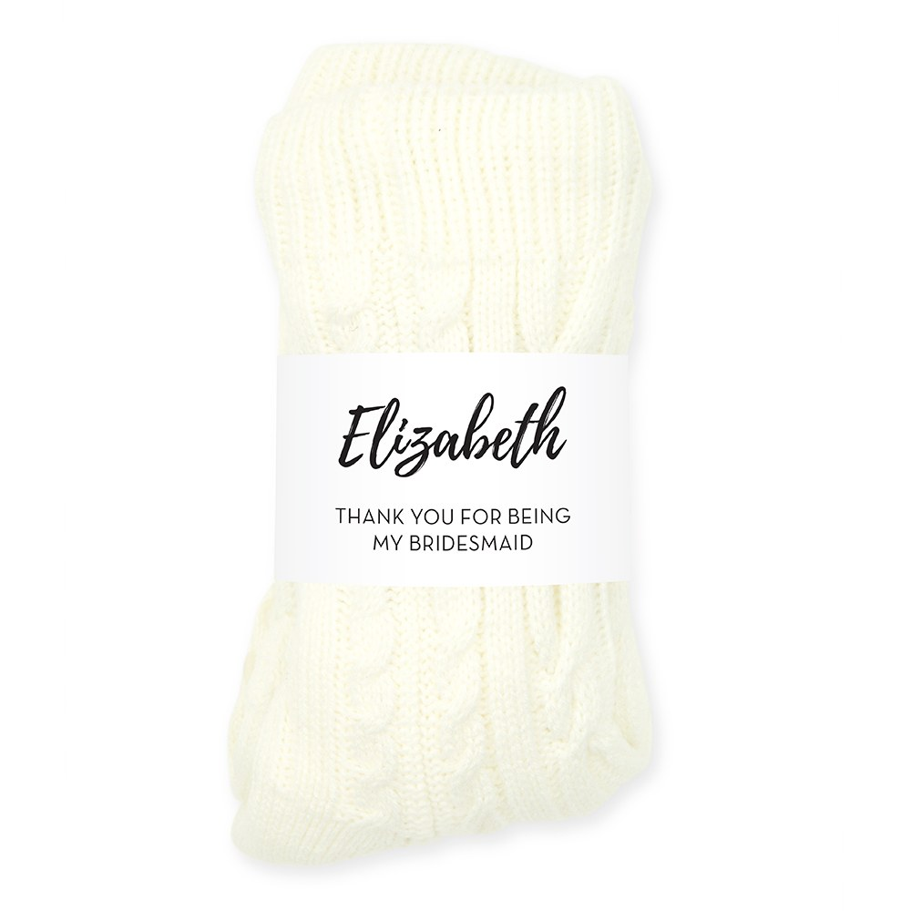Personalized Cozy Sherpa Lined Cable Knit Slipper Socks - Calligraphy
