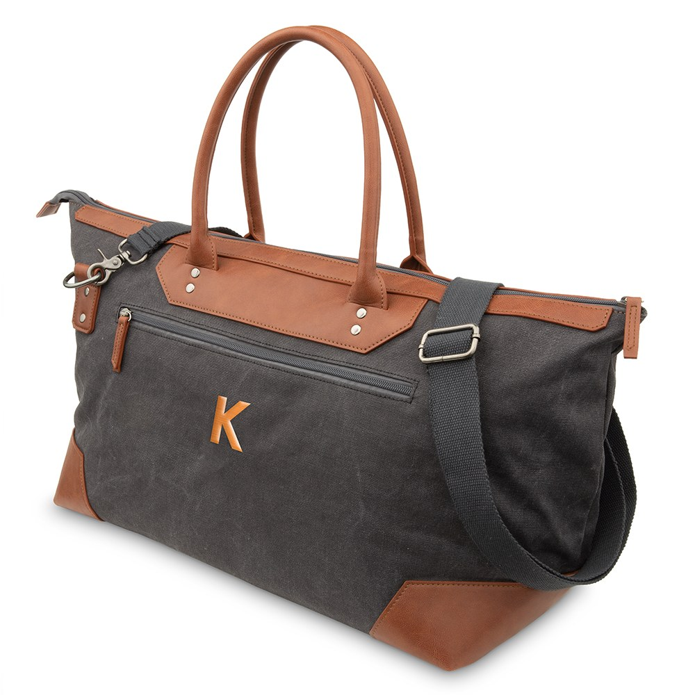 Large Personalized Canvas Weekender Travel Bag - Charcoal Grey
