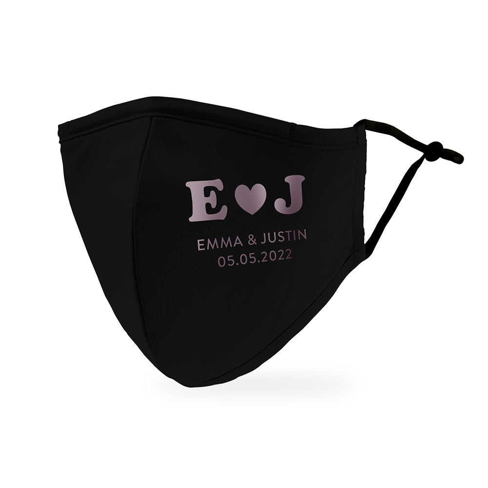 Personalized Adult Wedding Reusable, Washable 3 Ply Cloth Face Mask - Heart Monogram
