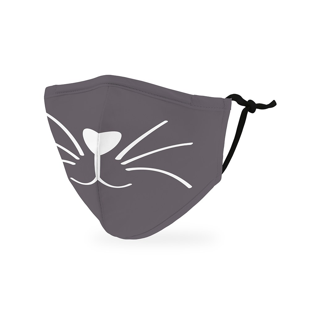 Kid's Protective Cloth Face Mask - Grey Kitty