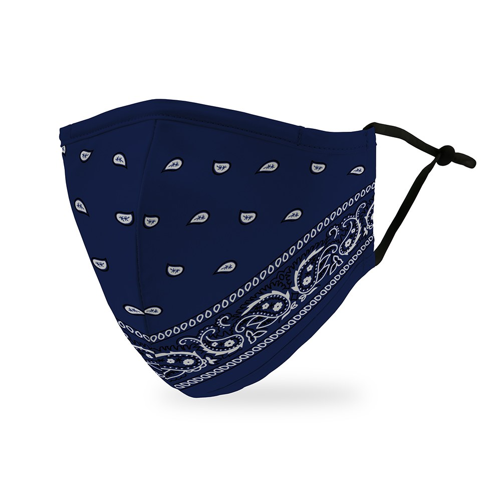 Adult Protective Cloth Face Mask - Blue Bandanna