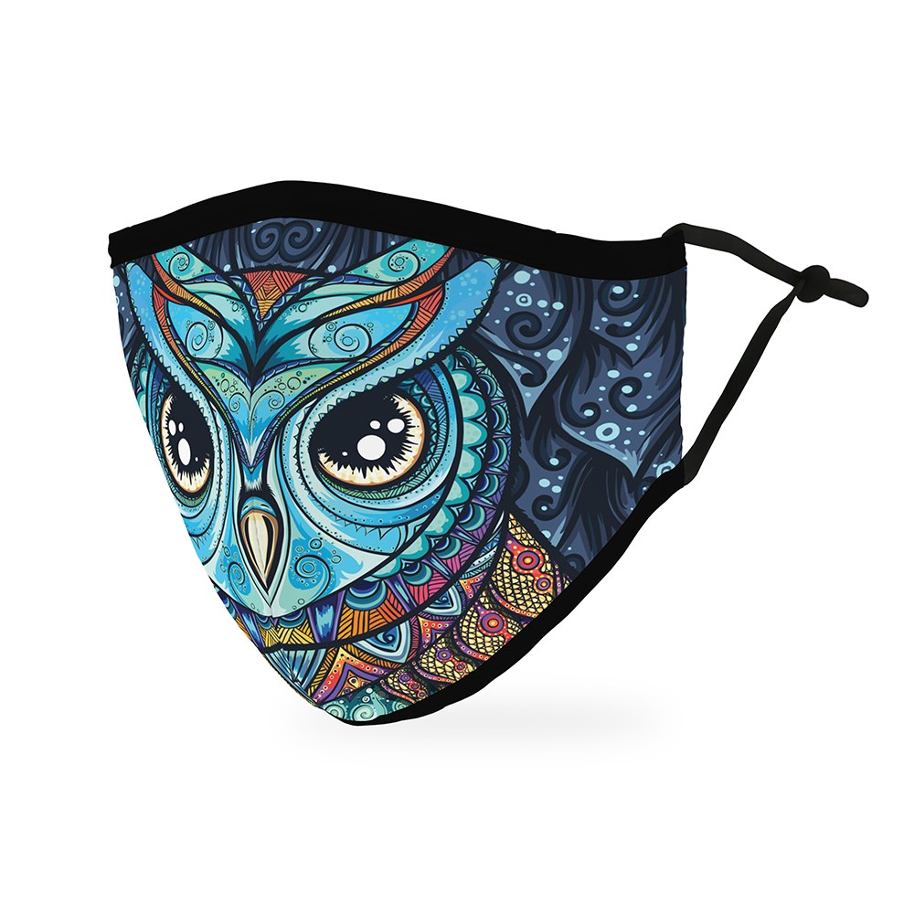 Adult Protective Cloth Face Mask - Owl Mosaic