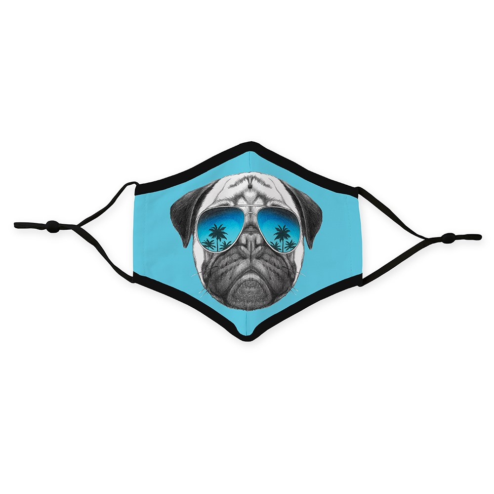 Kid's Protective Cloth Face Mask - Shades Pug