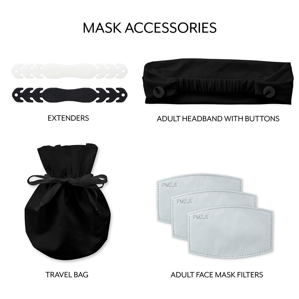 Adult Reusable, Washable Cloth Face Mask With Filter Pocket - Retro Ornaments